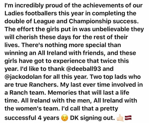 Tweet from Darragh Kavanagh, one of the Ladies gaelic football team managers.